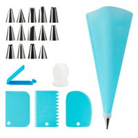 Elegant Choise 14 Pieces Cake Stainless Steel Piping Nozzle Tips Decorating Nozzles Kitchen Baking Supplies, Cake Decorating Kit, Piping Bags and Nozzle , 1 Pastry Reusable Silicone Piping Bag (Blue)