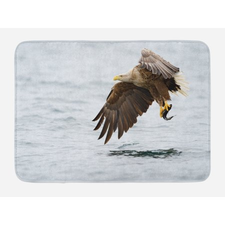 Eagle Bath Mat, Bird with Feathers on Head and Tail Catching a Fish Hunting Animal Food Chain, Non-Slip Plush Mat Bathroom Kitchen Laundry Room Decor, 29.5 X 17.5 Inches, Pearl Brown Yellow, Ambesonne (Centerpieces With Feathers And Pearls)