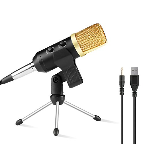 Condenser Studio Recording Microphone with Stand WOQI Professional Podcasting Broadcasting USB Microphone for Computer PC Laptop-Gold
