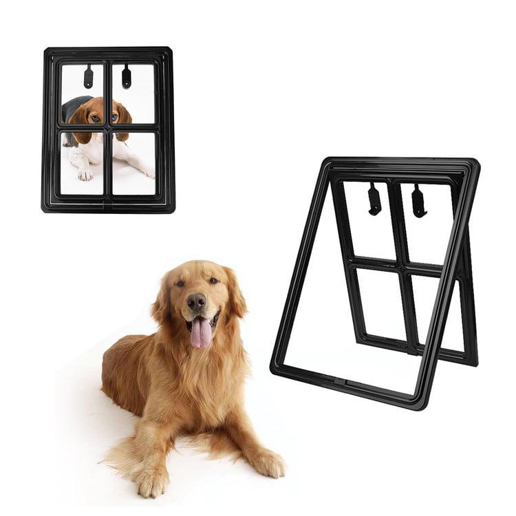 "15.7"" x 11.8"" Pet Screen Door Magnetic Flap Footprint Bones Door for Pets Cat Dog Entry & Exit, Black"