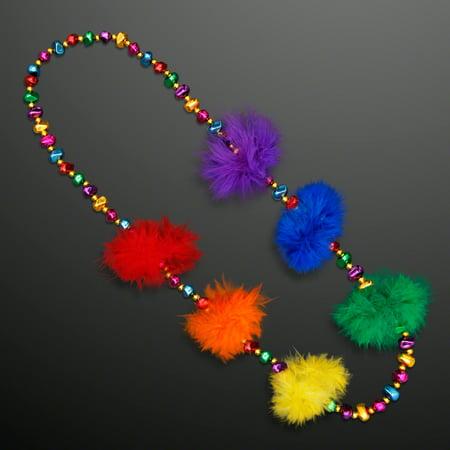 FlashingBlinkyLights Rainbow Feather Mardi Gras Throw Beads for $<!---->