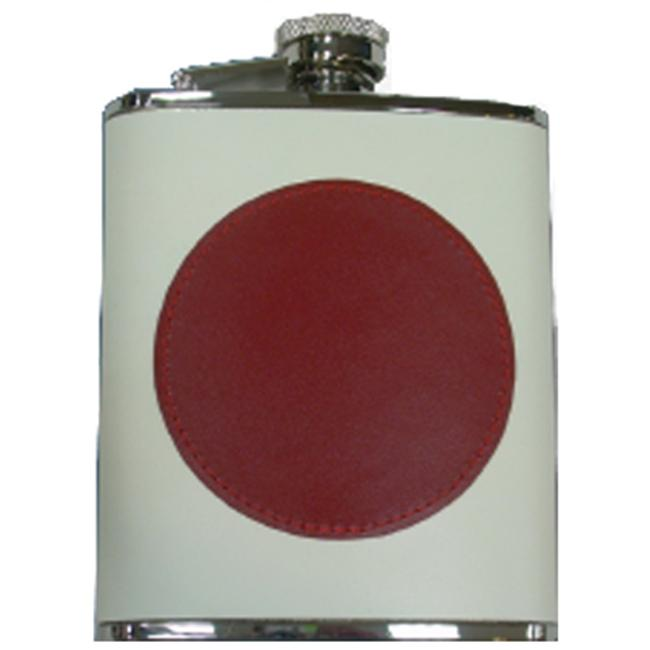 Simran HFFS-6198 Ajmer 6 oz.  Japanese Flag Genuine Leather Stainless Steel Flask