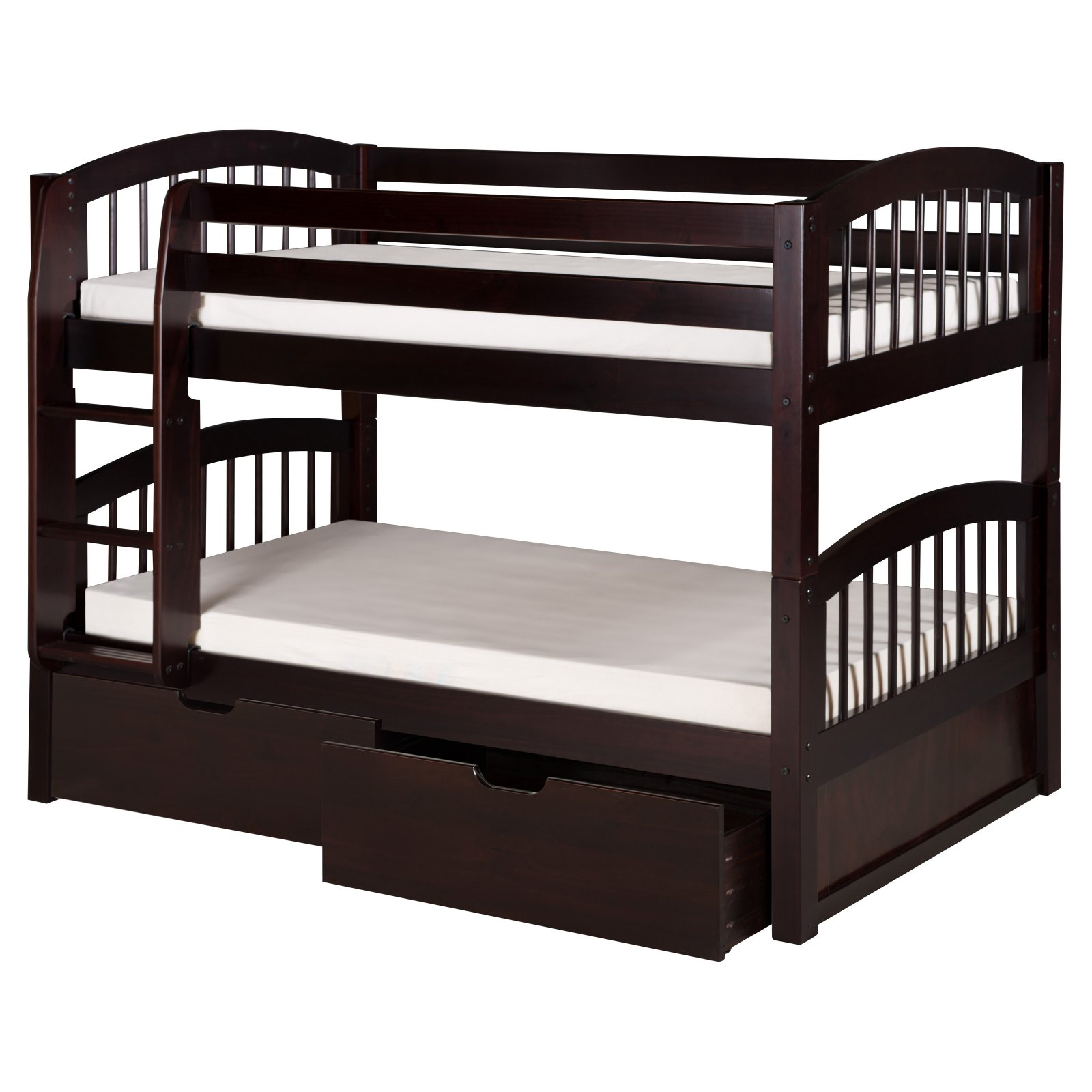Camaflexi Twin Over Twin Low Bunk Bed With Twin Trundle