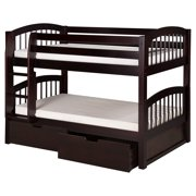 Camaflexi Twin over Twin Low Bunk Bed with Twin Trundle - Panel Headboard - Natural Finish