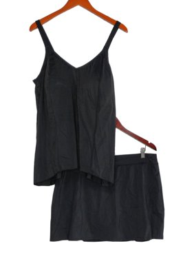 Denim & Co. Plus Sz Swimsuit 20W Hi-Low Tankini Black A303155