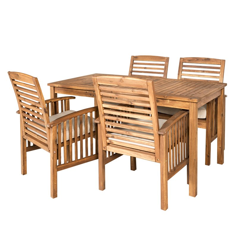 Simple Minimalist Dining Set: Acacia Wood Simple Patio 5-Piece Dining Set
