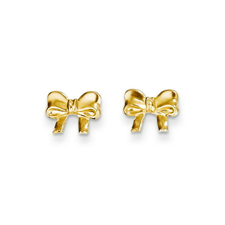 Children's 14k Yellow Gold Polished Bow Screw Back Post Earrings