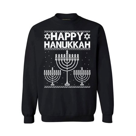 Awkward Styles Happy Hanukkah Christmas Sweatshirt Jewish Menorah Ugly Christmas Sweater Xmas Gifts Christmas Sweatshirt for Men for Women Funny Christmas Sweater Holiday Party Happy Hanukkah Sweater