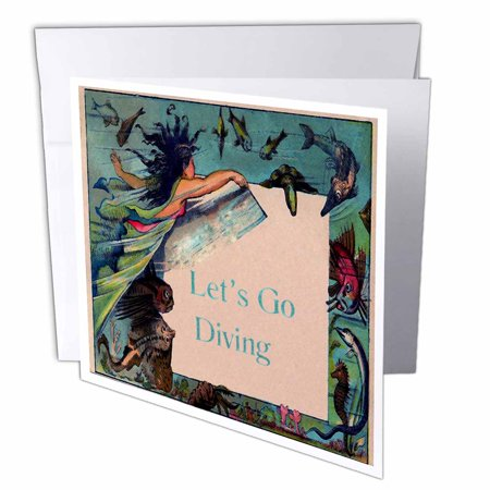 3Drose Print Of Vintage Mermaid With Lets Go Diving Sign  Greeting Cards  6 X 6 Inches  Set Of 12