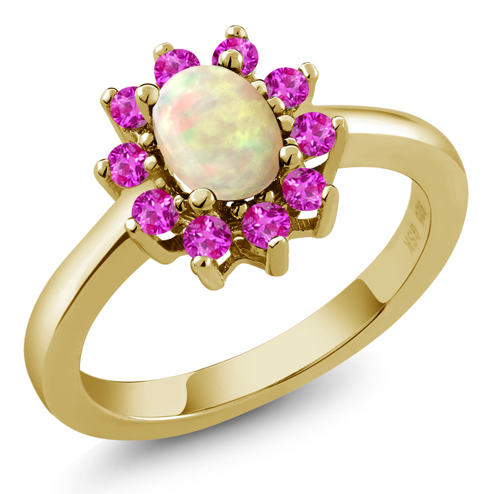 1.01 Ct Oval Cabochon White Ethiopian Opal Pink Sapphire 18K Yellow Gold Ring by