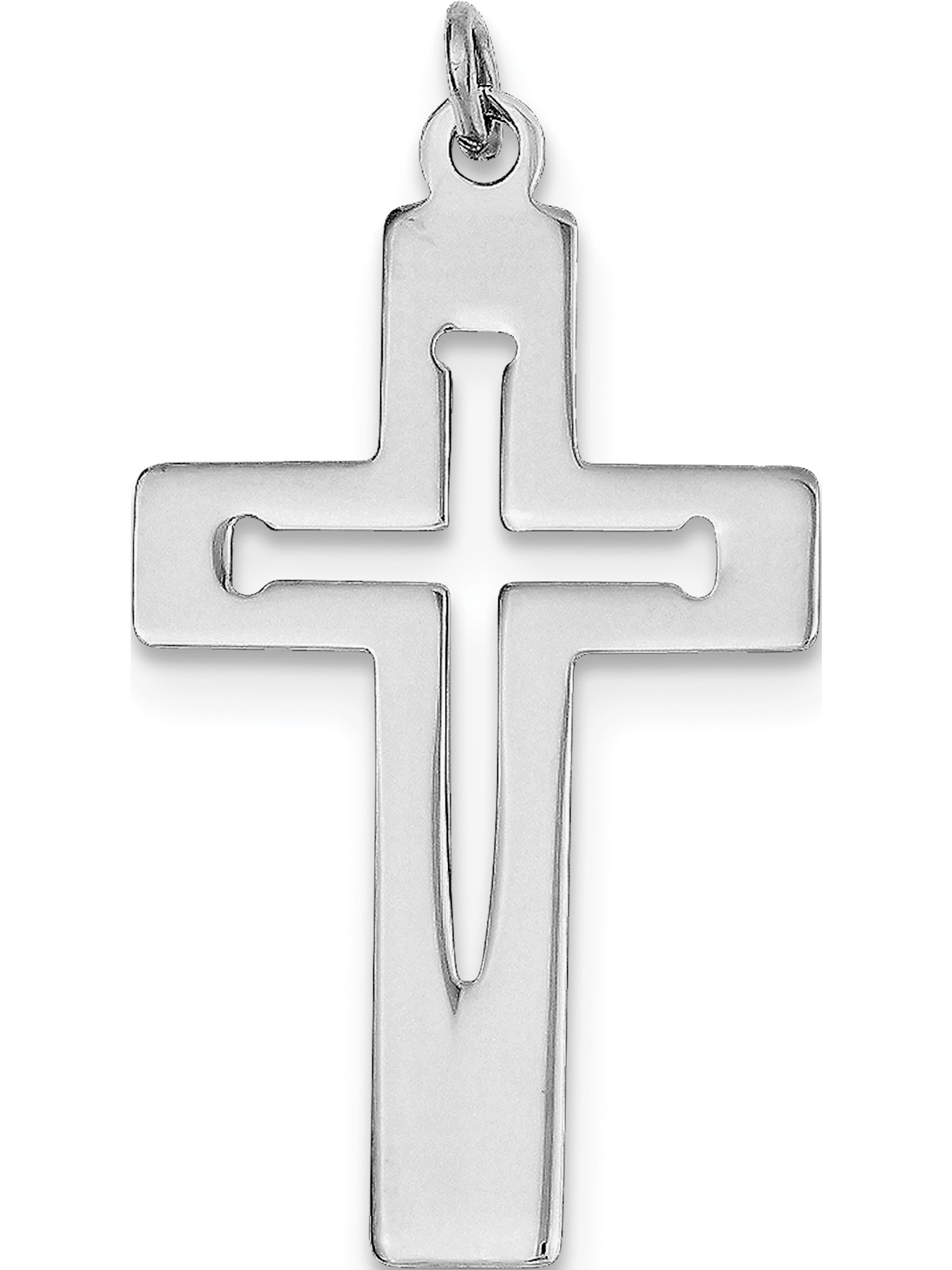 Sterling Silver Rhodium-plated Polished Crucifix Pendant New Religious Charm 925