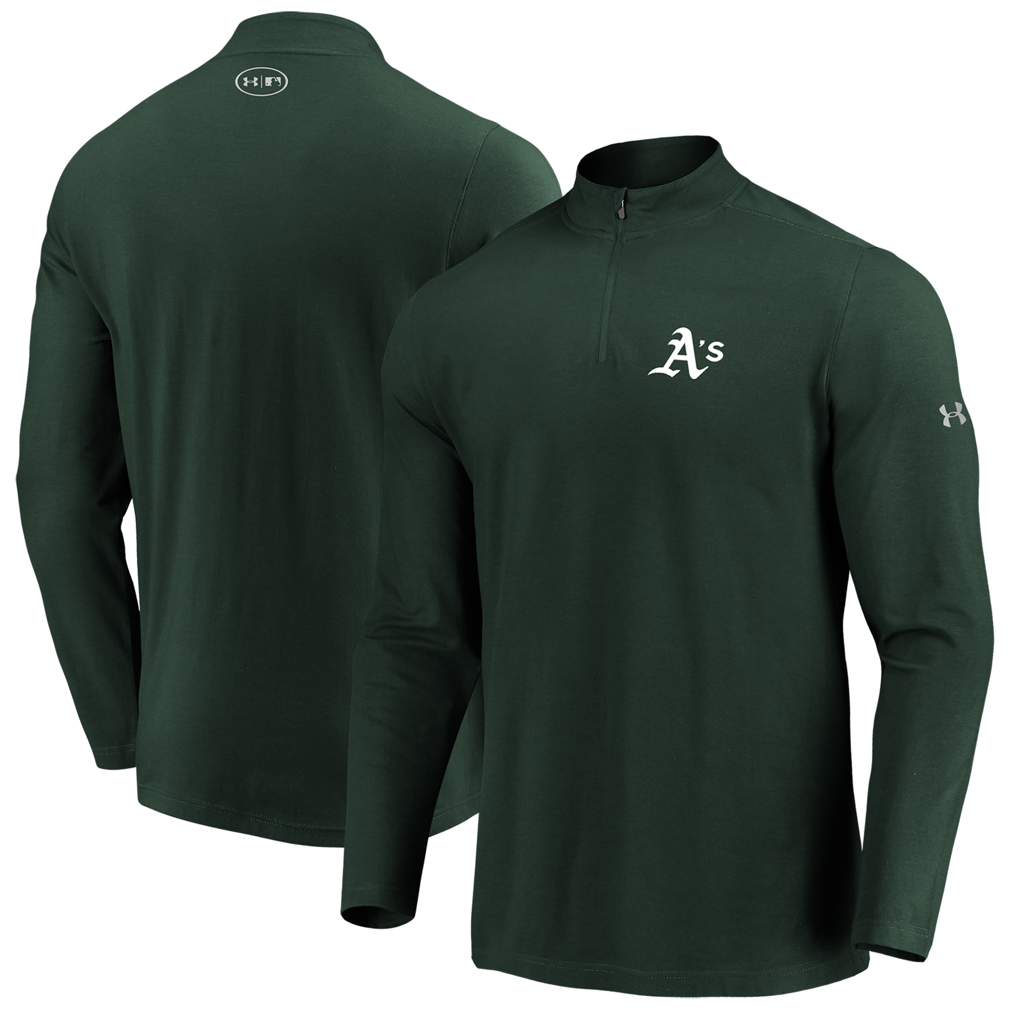 Oakland Athletics Under Armour Passion Performance Tri-Blend Quarter-Zip Pullover Jacket - Green