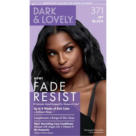 Dark and Lovely Fade Resist Rich Conditioning Hair Color, Permanent Hair Dye, 371 Jet