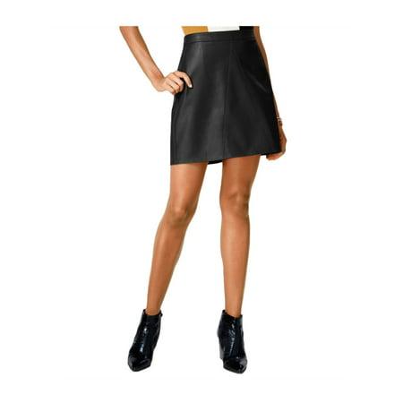 bar III Womens Faux Leather A-line Skirt