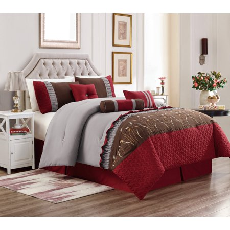 Embroidery Patchwork Comforter (Unique Home Marcia 7 Piece Patchwork Embroidery Clearance Comforter Set Fade Resistant, Wrinkle Free, No Ironing Necessary, Super Soft (King, Burgundy/Brown/Gray))