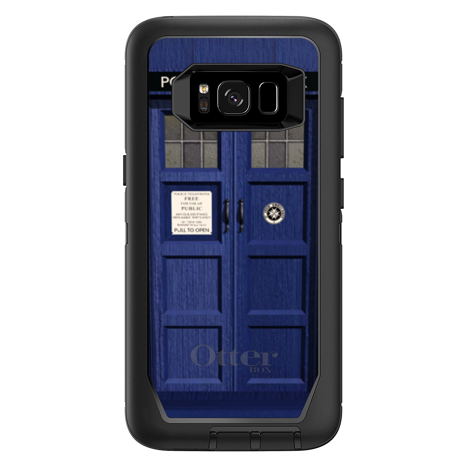 "DistinctInk™ Custom Black OtterBox Defender Series Case for Samsung Galaxy S8 (5.8"" Screen) - London Police Call Box TARDIS"
