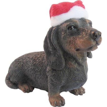 - Sandicast Sitting Black Dachshund with Santa's Hat Christmas Dog Ornament