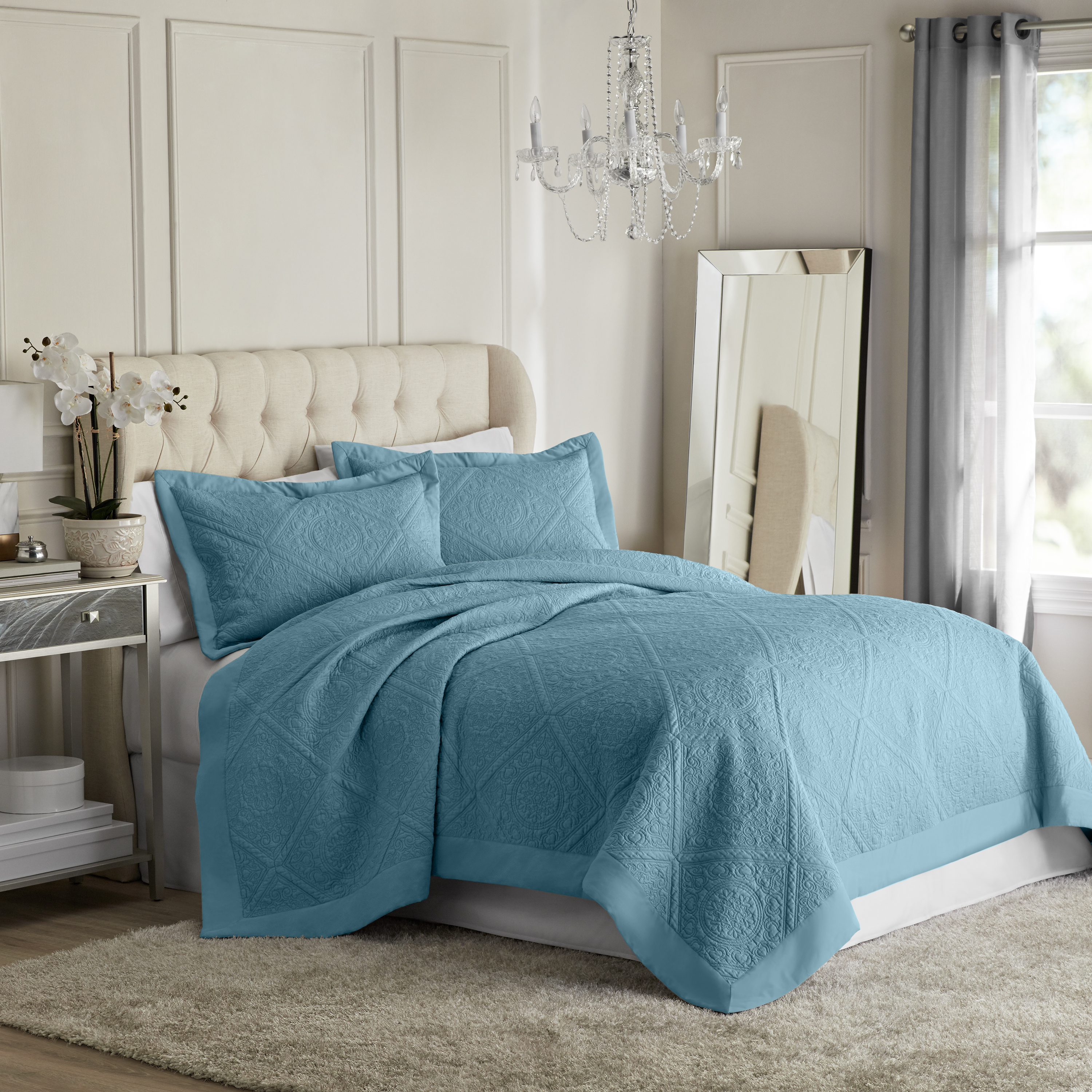 Hotel Style Chateaux Quilted Coverlet, 3 Piece Set