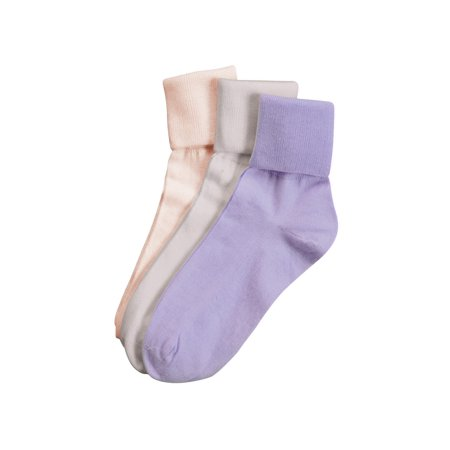 Buster Brown Women's 100% Cotton Socks - 3 Pair Package Fold Over Asst. -