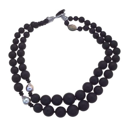 Cultured Pearl Onyx Necklace (Vaid ROMA Onyx & Cultured Pearl Bead)