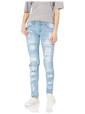 Cover Girl High Waisted Cute Ripped Patched Repair Blue Skinny Juniors, Light, 13