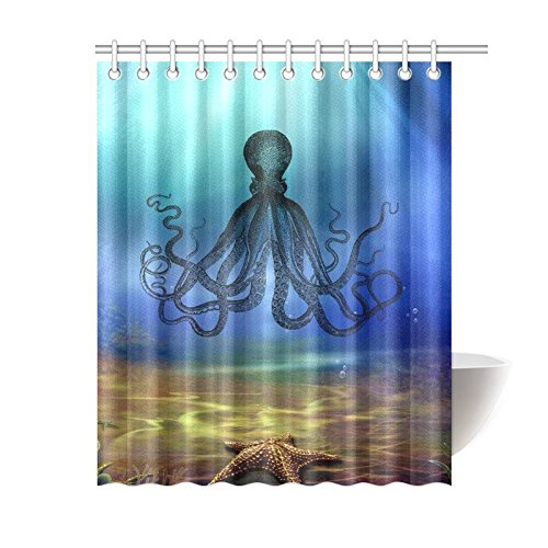 GCKG Underwater World Shower Curtain Sea Monster Natical Octopus Steampunk Polyester Fabric Bathroom Sets 60x72 Inches