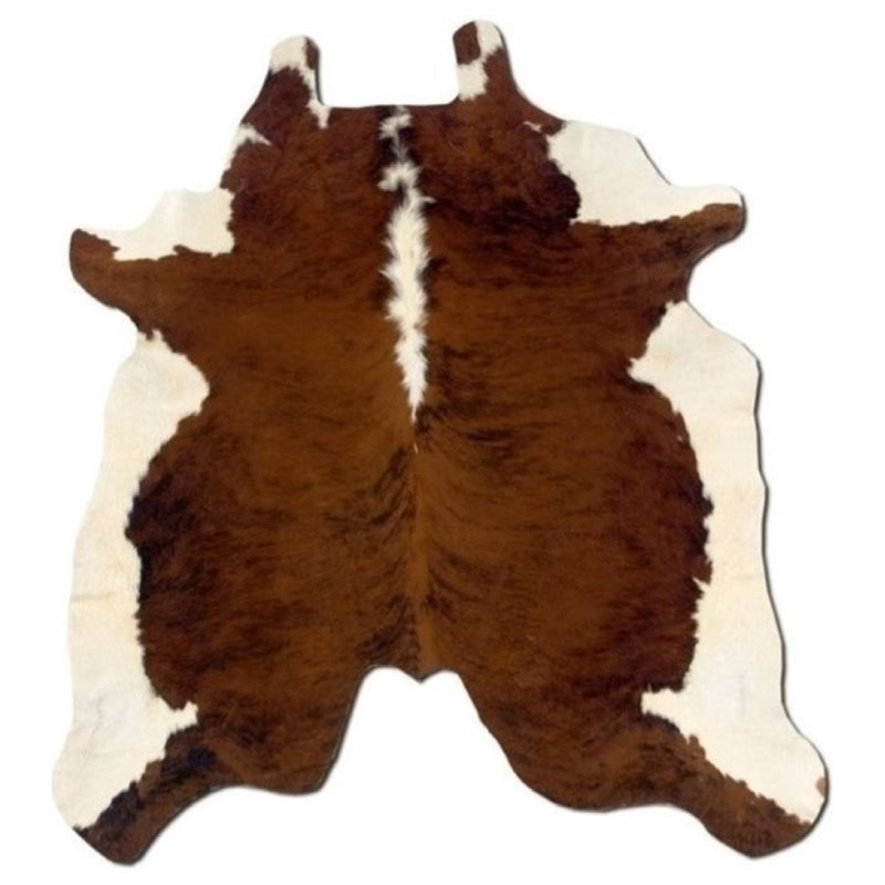 Hawthorne Collection Hand Crafted Brown Stencil Cow Hide Rug in Brown