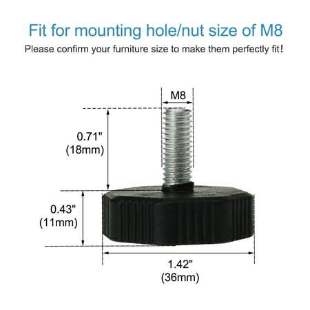 M8 x 18 x 36mm Leveling Feet Adjustable Leveler for Furniture Machine Leg 10pcs - image 3 of 7
