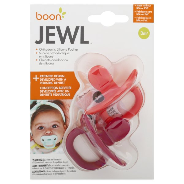 Boon Jewl Orthodontic Silicone Stage 1 Pacifier Blue, Pack of 4