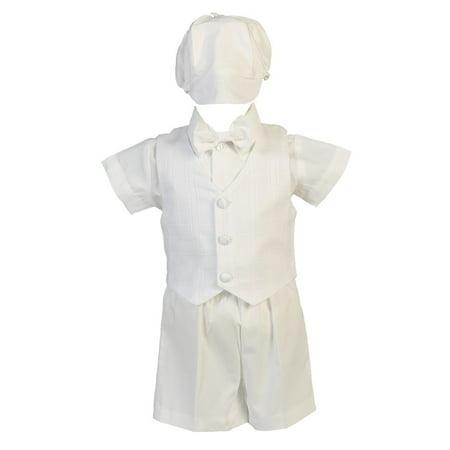 Lito Baby Boys White Cotton Plaid Vest Hat Shorts Christening Outfit Set 0-3M