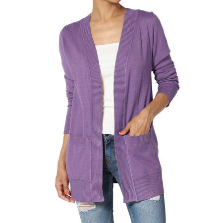 - TheMogan Women's Boyfriend Relaxed Fit & Pocket Open Front Knit Sweater Cardigan