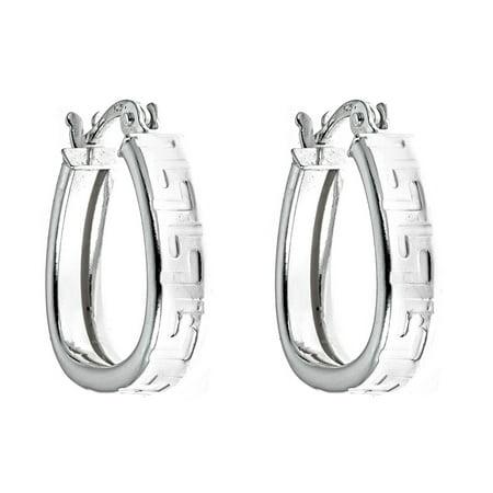 Sterling Silver 0.65'' Greek Design Hoop Earrings