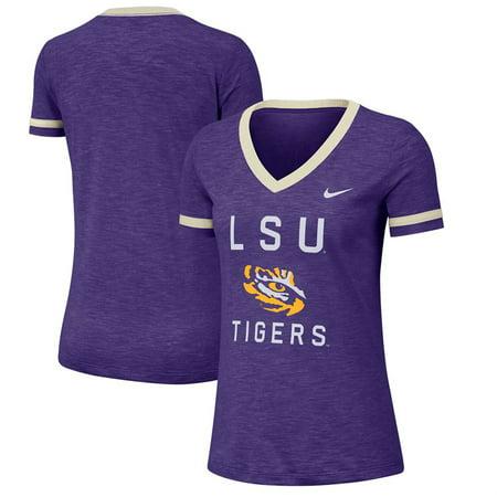LSU Tigers Nike Women's Performance Slub Retro Fan V-Neck T-Shirt -