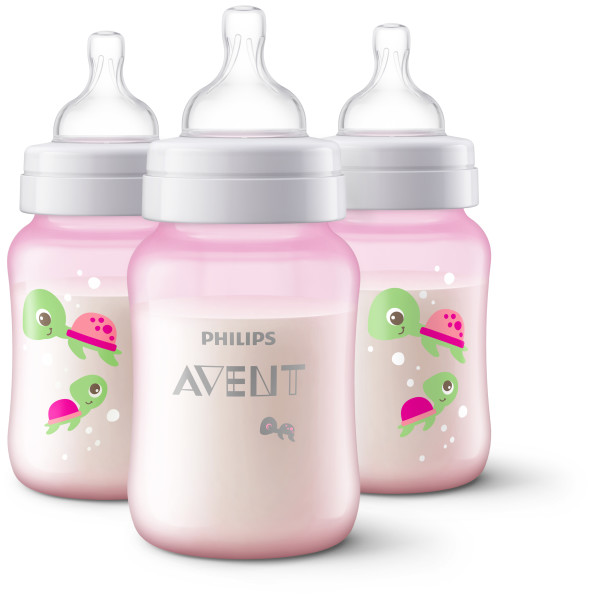 Philips Avent Anti-colic baby bottle Turtle design, 9oz, 3pk, SCF407/34