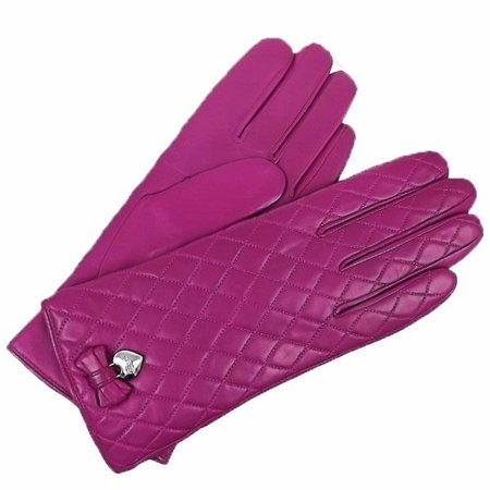 COACH Woman's Magenta Pink Leather Quilted Cashmere Lined Bow Gloves (Pink Quilted Leather)