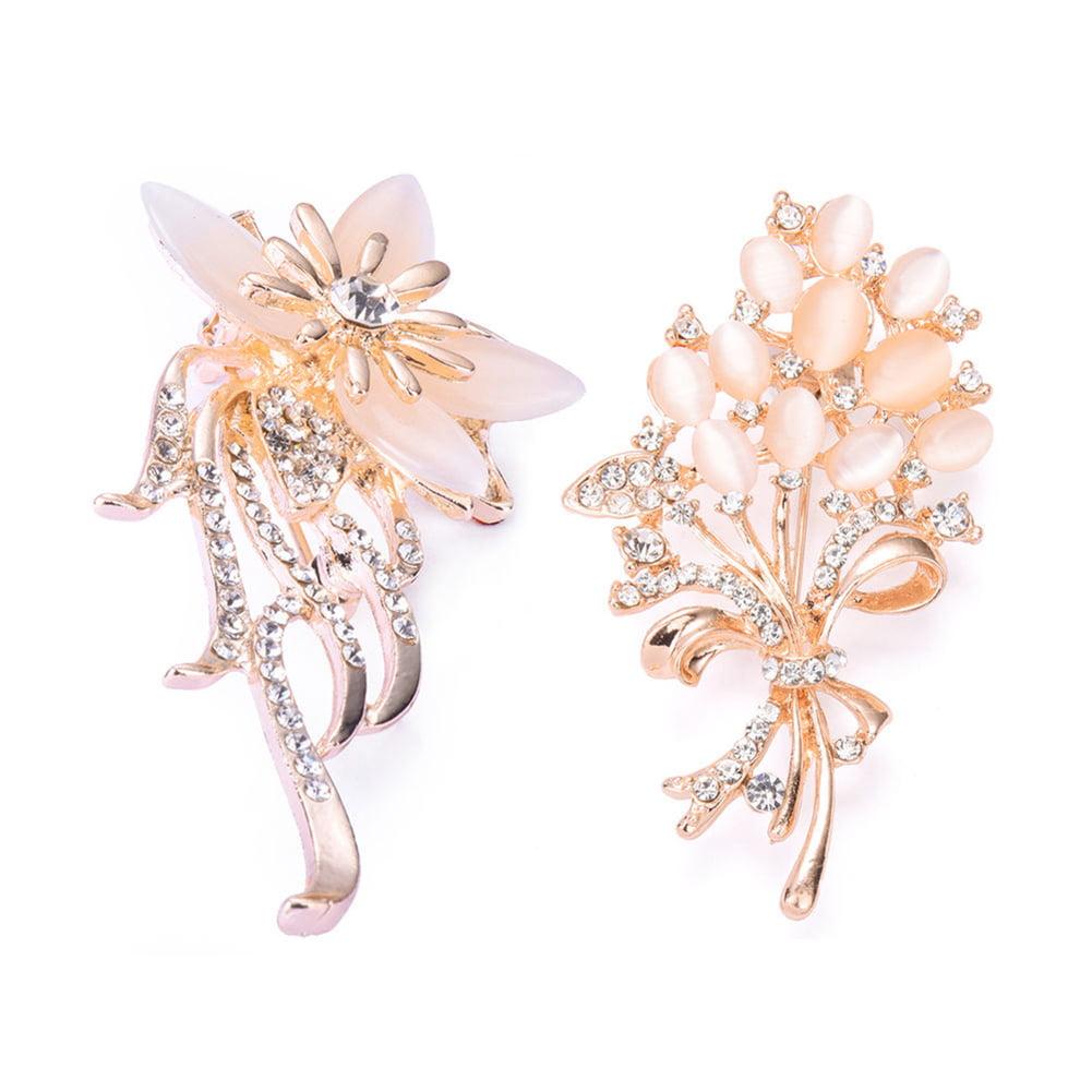 Fashion Women Charming Rhinestone Opal Flower Bouquet Brooch Pin Wedding Bridal by