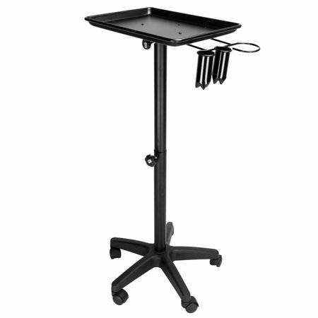 - Beauty Rolling Trolley Cart Equipment Mobile Salon Spa Service Instrument Hairdressing Storage Tray W/Accessory Caddy Aluminum Black