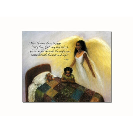 African American Black Guardian Angel Girl Praying Lord