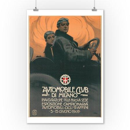 (Automobile Club de Milano Vintage Poster (artist: Metlicovitz) Italy c. 1909 (9x12 Art Print, Wall Decor Travel Poster))