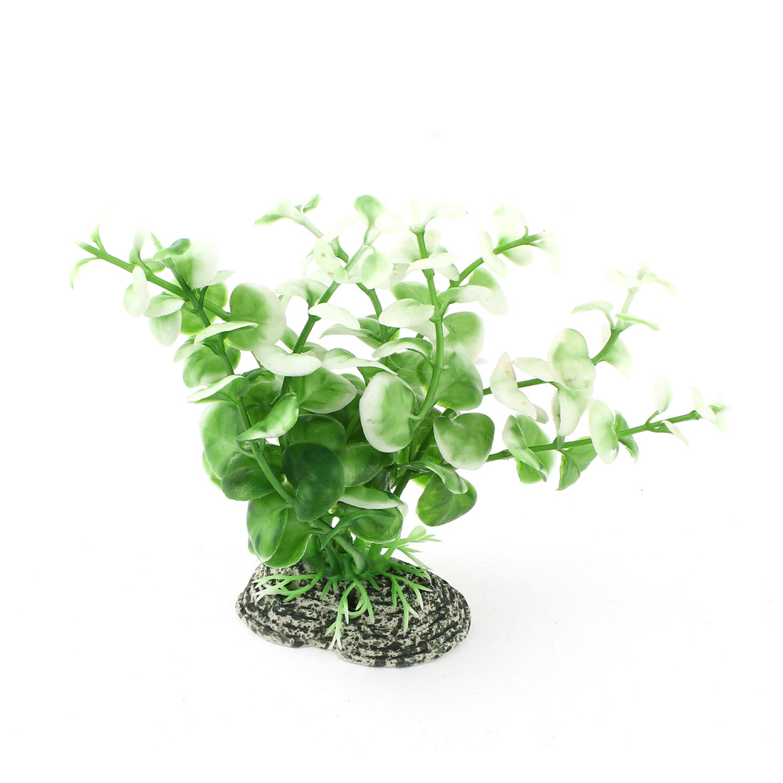Unique Bargains Green White Plastic Emulation Grass Water Plant 12cm High Accent for Aquarium