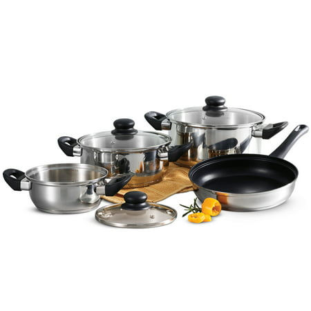 Tramontina Primaware Stainless Steel 7-Piece Cookware Set with Tri-ply Base