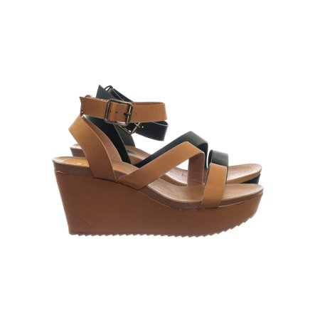 Cuddle03 by Bamboo, Vintage Stained Worn Out Platform Wedge Ankle Strap Open Toe