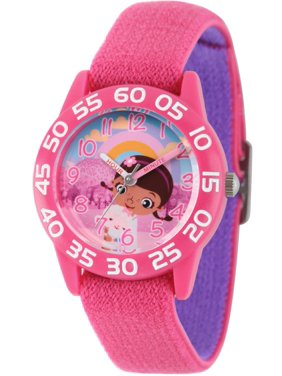 Doc Mcstuffins, Lambie Girls' Pink Plastic Time Teacher Watch, Reversible Pink and Purple Nylon Strap