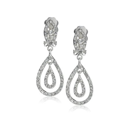 Silver Crystal Rhinestone Two Layer Teardrop Pear Shaped Dangle Clip Earrings Tipped with Eye