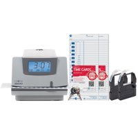 Pyramid 3500 Multi-Purpose Time Clock and Document Stamp Bundle, includes 225 time cards, 2 ribbon cartridges