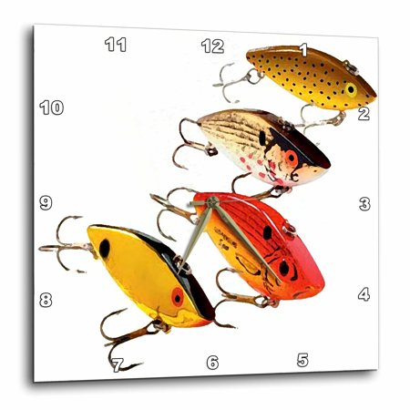 3dRose Fishing Lures, Wall Clock, 10 by 10-inch
