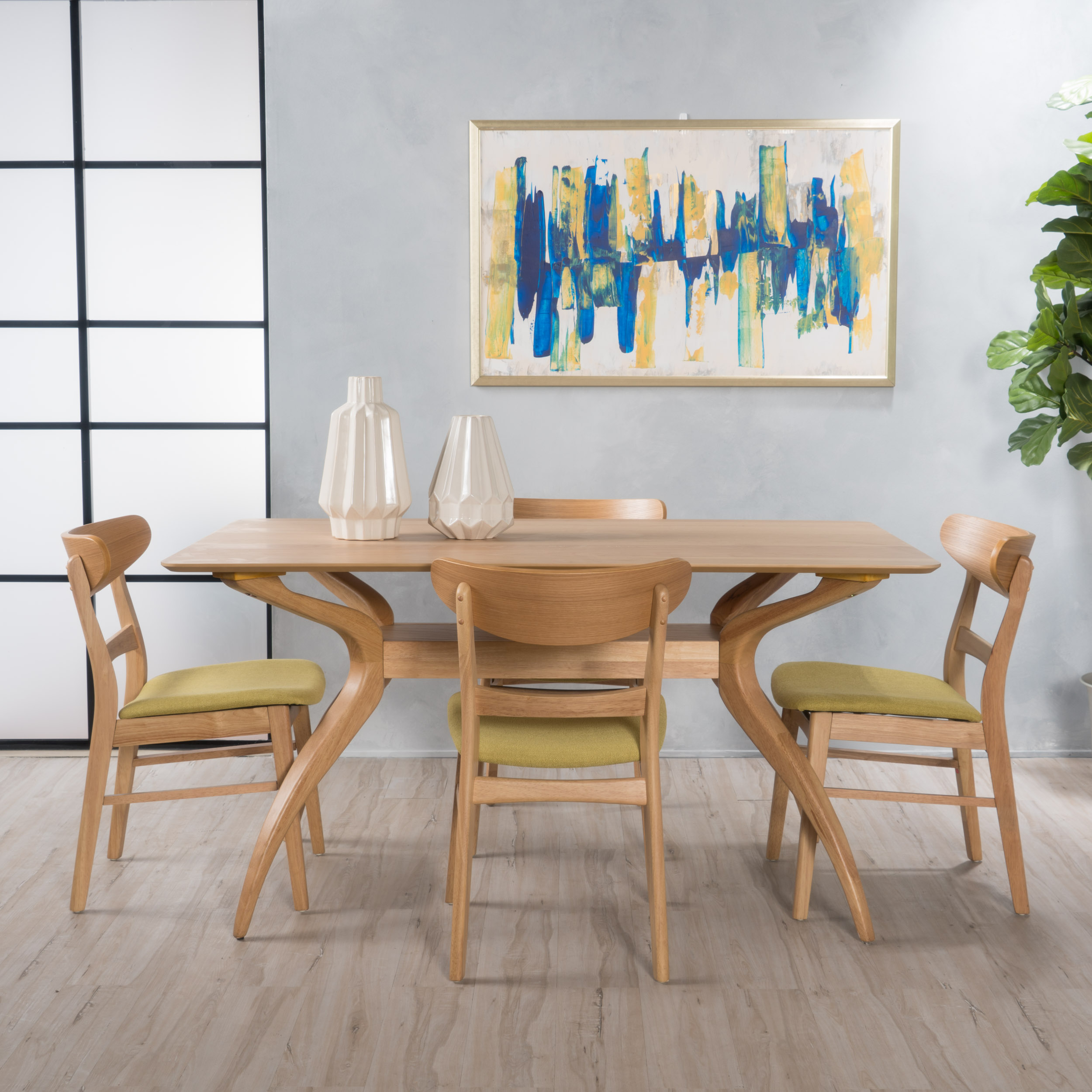 "Noble House Lydia Oak Finish 5 Piece 59"" Dining Set, Green Tea"