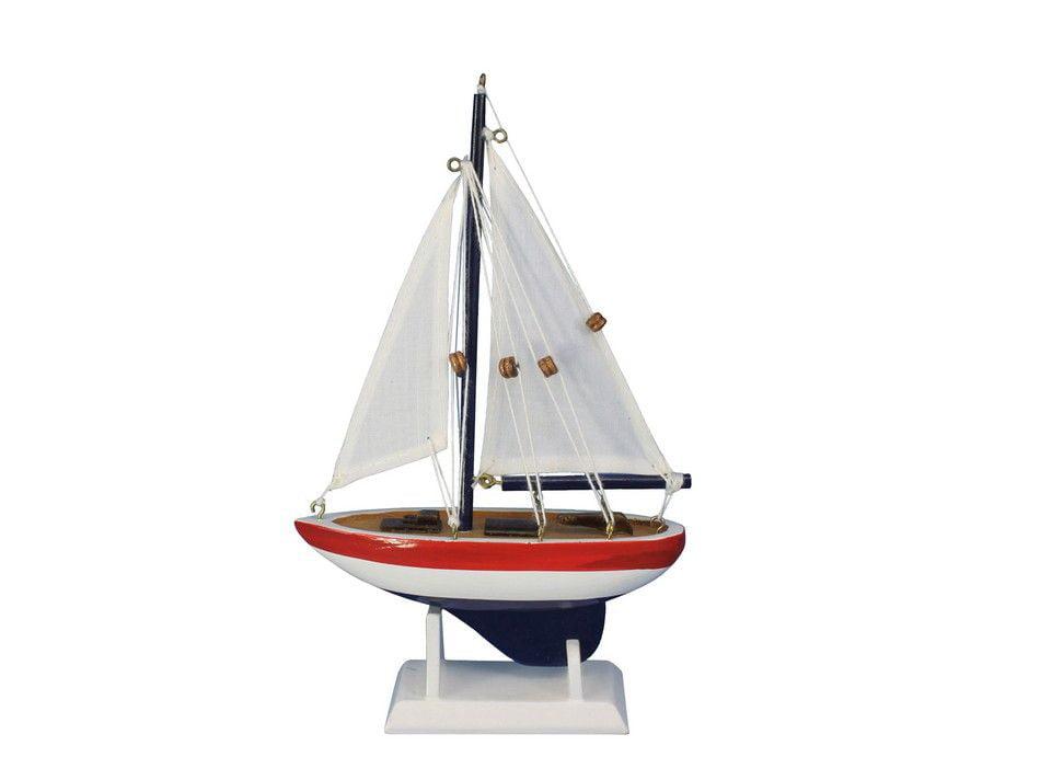 "USA Sailer 9"" Small Wood Sailboat Model Sailboat Decoration Nautical Theme by Handcrafted Nautical Decor"