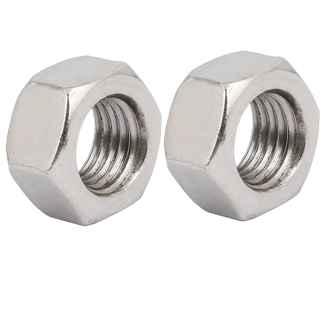 2pcs M16 x 2mm Pitch Metric Thread 201 Stainless Steel Left Hand Hex Nuts