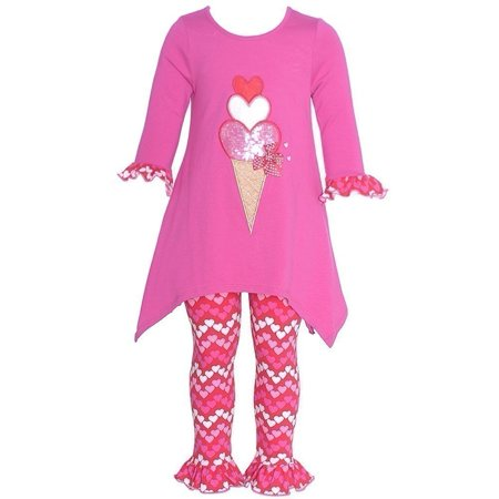 Bonnie Jean Baby Girls Fuchsia Icecream coeur 2 Pc Appliqué caleçon 0-3m